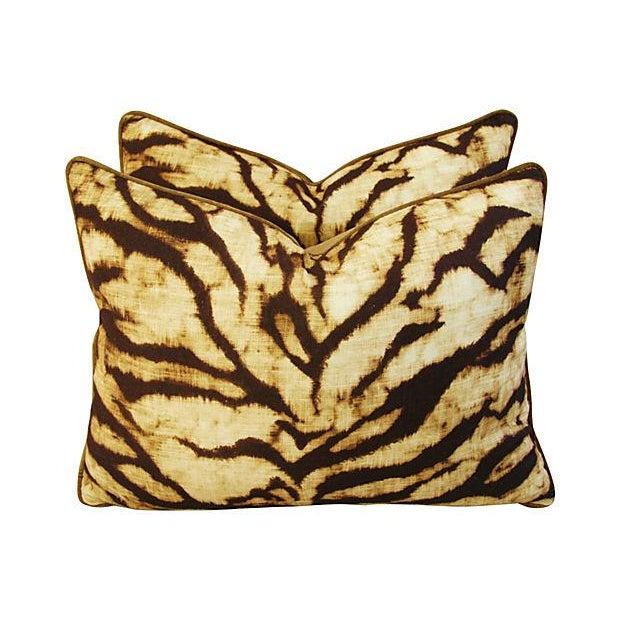 Schumacher Tiger Linen & Velvet Pillows - A Pair - Image 7 of 7