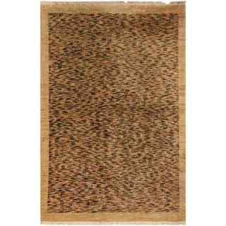 Gabbeh Peshawar Bob Tan/Blue Hand-Knotted Wool Rug -3'6 X 4'11 For Sale
