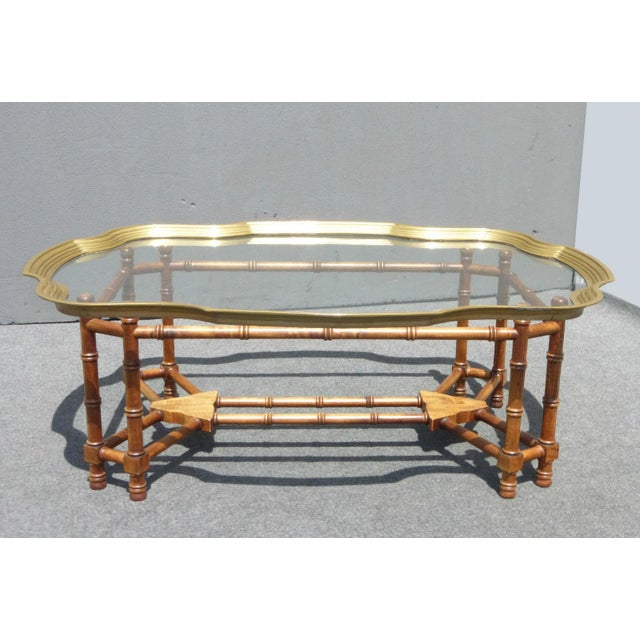 Mid Century Lebarge Style Scalloped Brass Glass Top Faux Bamboo Coffee Table Image 3