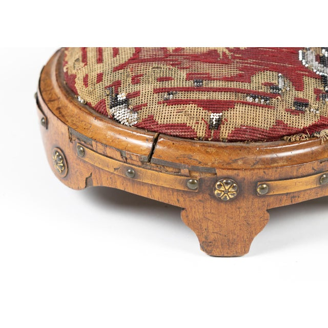 Wood Near Pair of Charming Round Upholstered Walnut Foot Stools, French Circa 1800 For Sale - Image 7 of 9