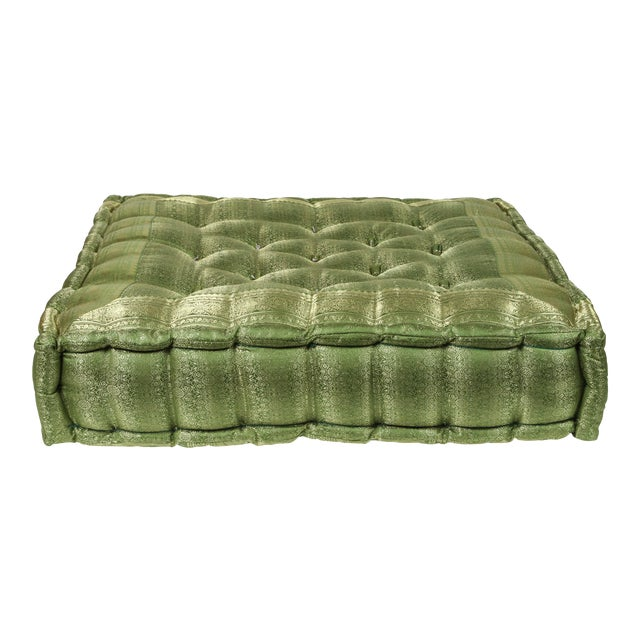 Oversized Silk Square Green Tufted Moroccan Floor Pillow Cushion For Sale
