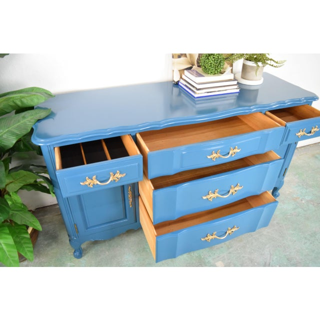 19th Century French Provincial Thomasville Blue Sideboard For Sale - Image 11 of 13