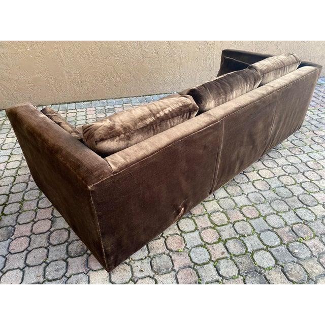Newly Reupholstered Velvet Tuxedo Sofa For Sale In Tampa - Image 6 of 7