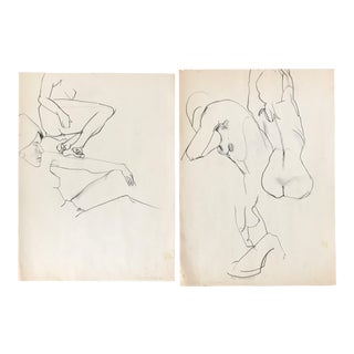 Nude Figure Study Sketches - A Pair