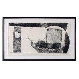 Vintage Abstract Black and White Etching For Sale
