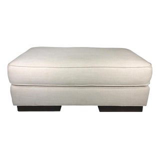 Modern, Mitchell Gold, White, Linen, Ottoman For Sale