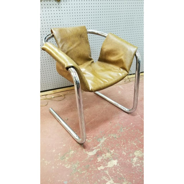 Italian Zermatt Sling Chairs by Vector Group in Original Distressed Cognac Vinyl and Tubular Chrome Frame - Pair For Sale In Chicago - Image 6 of 7