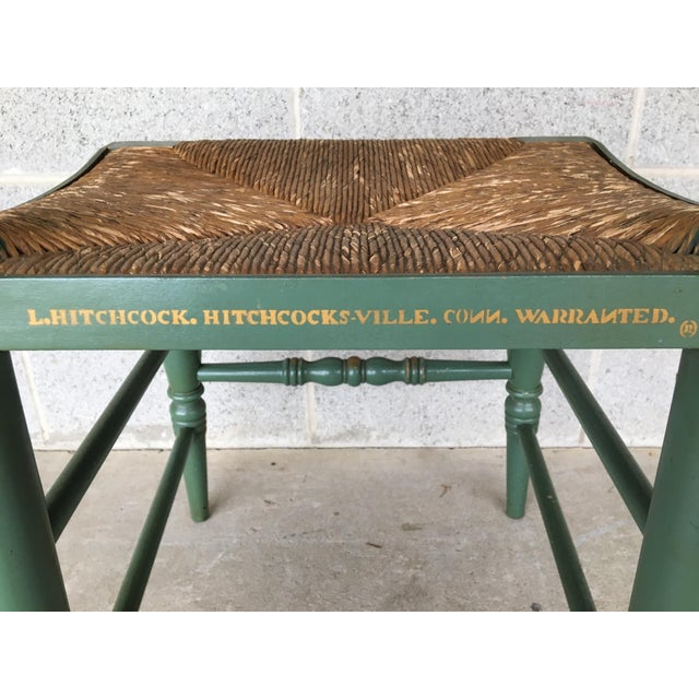 1970s L. Hitchcock Paint Decorated Crown Back Rush Bottom Side Chairs - a Pair For Sale - Image 5 of 6