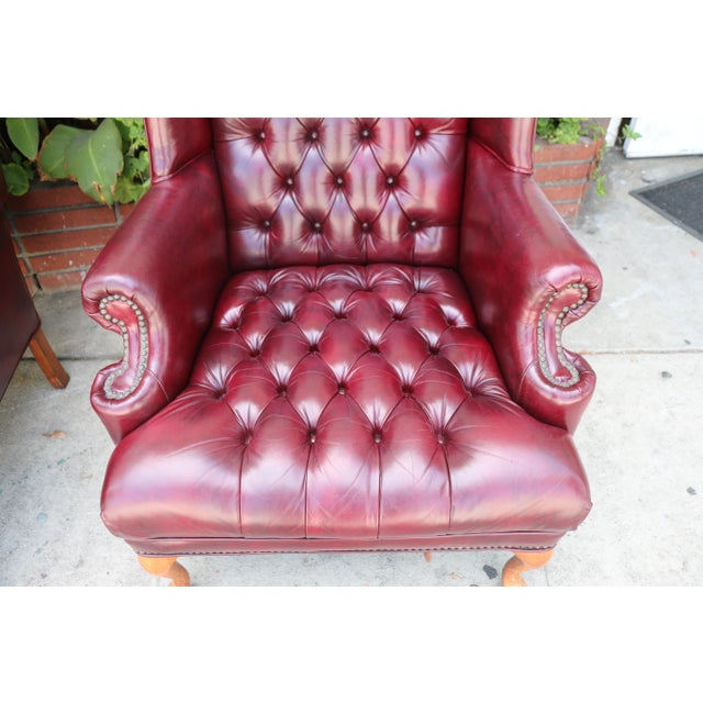 Emerson Leather Wing Back Chairs - A Pair | Chairish