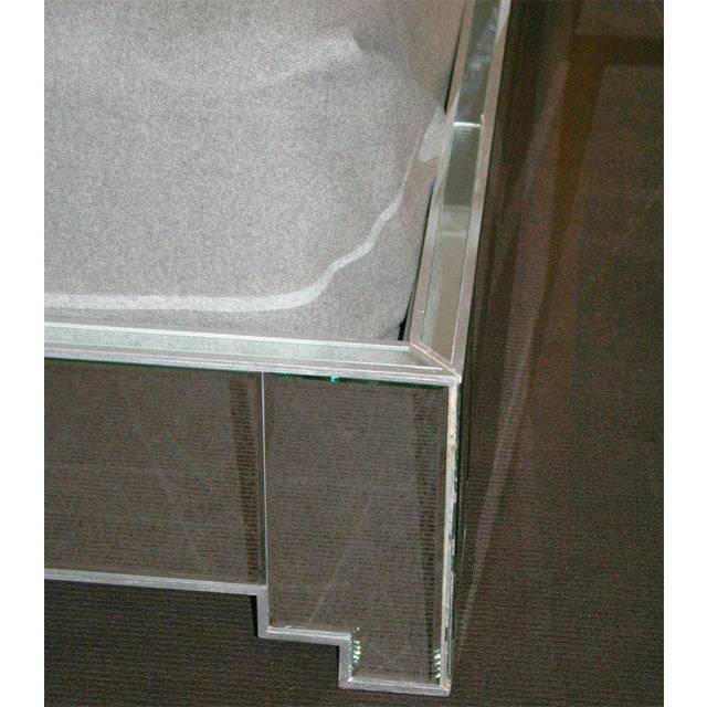 Modern Custom Mirrored Bed with Silver Trim Detailing For Sale - Image 3 of 6