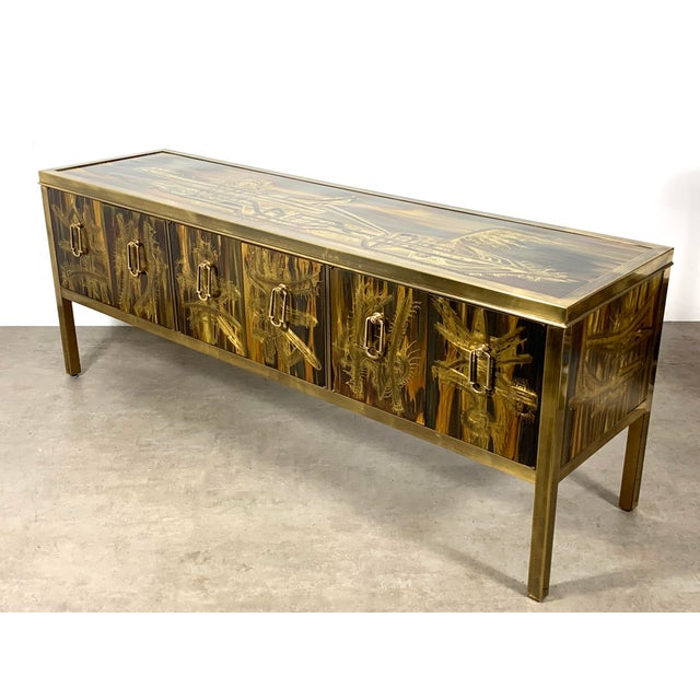1970s Bernhard Rohne Acid Etched Brass Credenza for Mastercraft 1970's For Sale - Image 5 of 13