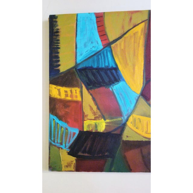 Mid-Century Modern Abstract Teal & Orange Painting For Sale - Image 4 of 7