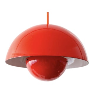 Vintage Verner Panton Red Flower Pot Pendant Light