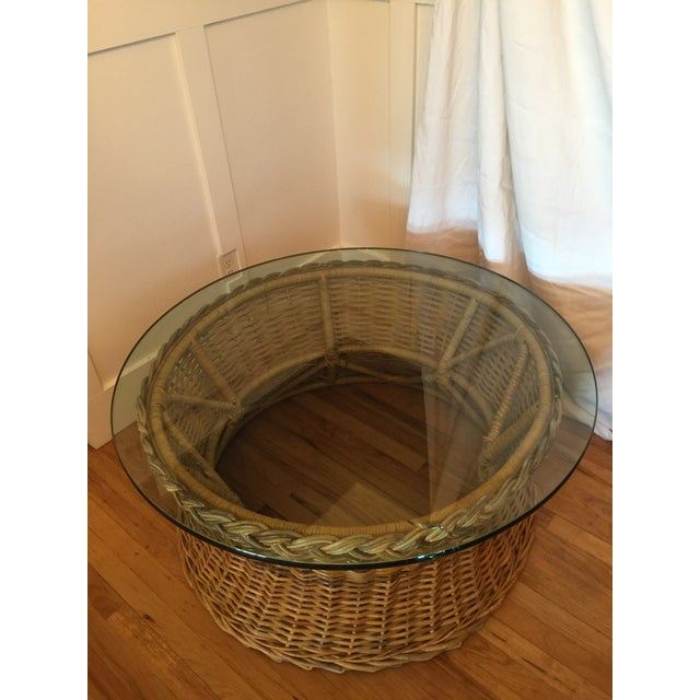 Boho Chic 1970s Boho Chic Round Wicker Coffee Table For Sale - Image 3 of 11