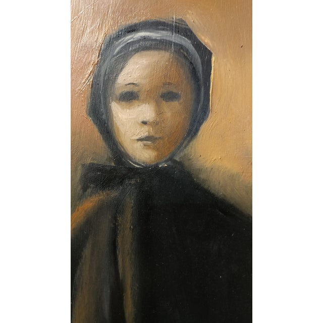 Girl with a Black Coat -1961 Mid century Modern Oil painting by Weber - Image 5 of 10