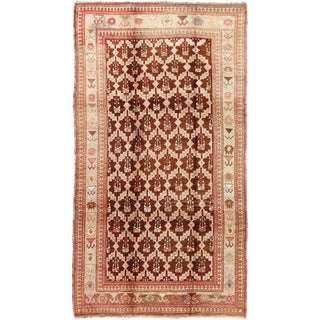 Unique Antique Turkish Oushak Rug in Brown, Taupe, Pale Green, Butter and Coral For Sale