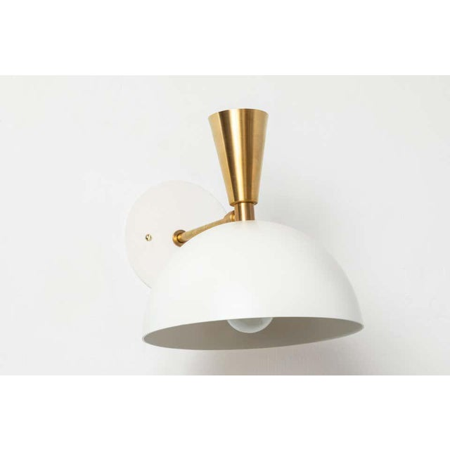 Not Yet Made - Made To Order 'Lola Ii' Sconces in White Metal and Brass - a Pair For Sale - Image 5 of 13