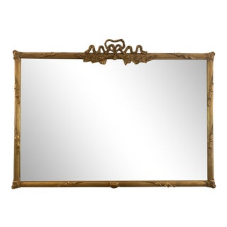 Antique Louis XV Gold Bow Horizontal Mirror For Sale