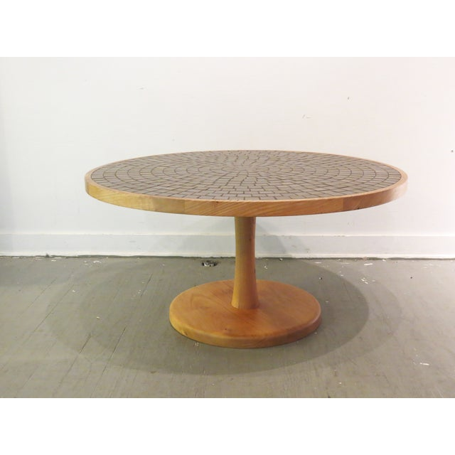 Vintage Round Martz Tile Top Coffee Table - Image 5 of 7
