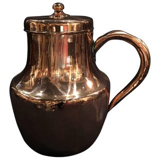 French Polished Copper Pitcher or Jug With Handle, 19th Century For Sale