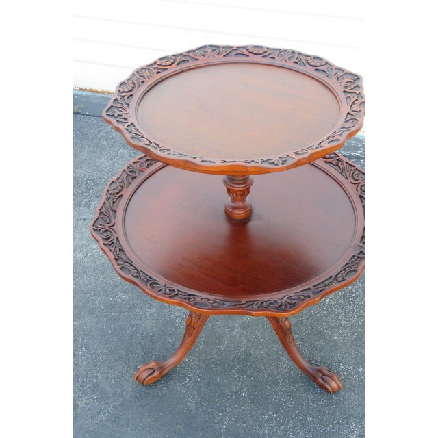 Mahogany Two Tier Hand Carved Pie Crust Round Side Table For Sale In Miami - Image 6 of 11
