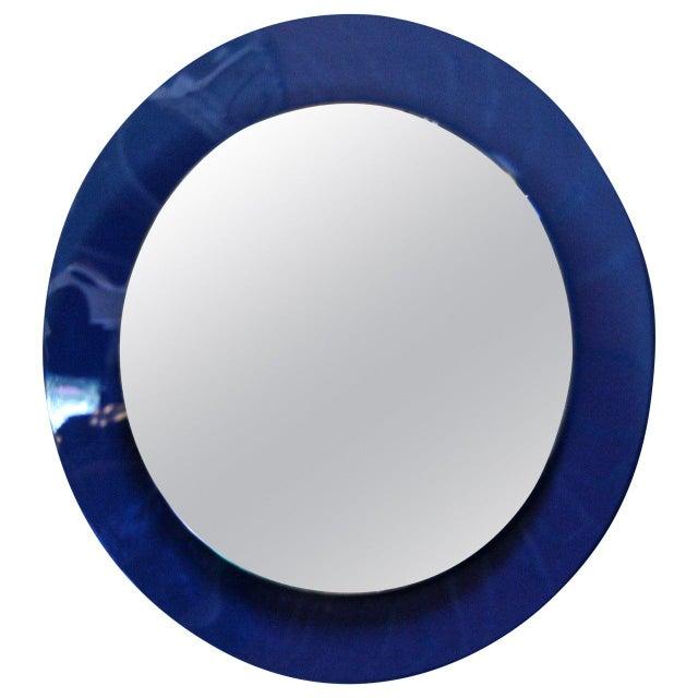 1960s Italian 1960s Cobalt Blue Mirror For Sale - Image 5 of 5