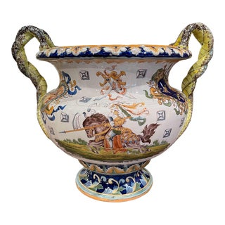 19th Century French Louis XV Hand Painted Porcelain Cache Pot With Crest Motifs For Sale