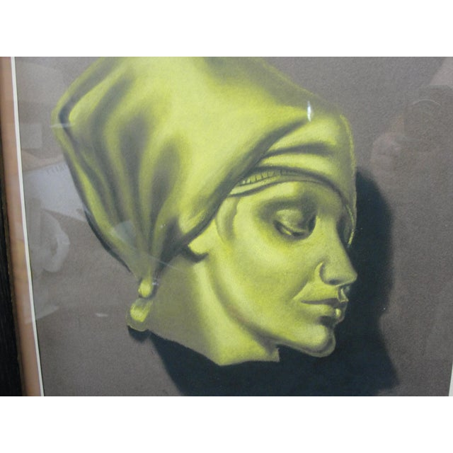 Traditional Vintage Pastel Chalk Drawing Portrait of a Woman by J. Sucarino For Sale - Image 3 of 7