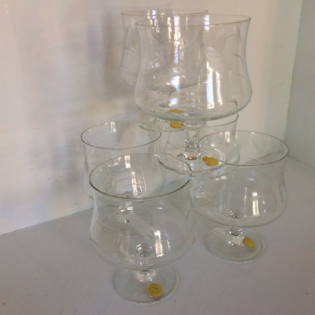 Sasaki Noritaki Mid-Century Modern Wheat Patterned Crystal Brandy Cocktail Glasses - Set of 6 For Sale - Image 13 of 13