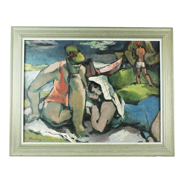 """""""Beach Figures"""" Oil Painting by Frederick Buchholz For Sale In New York - Image 6 of 6"""