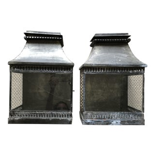 Custom French Wall-Mount Decorative Lanterns - a Pair For Sale