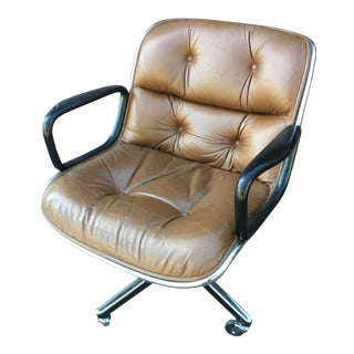 Vintage Mid Century Charles Pollack for Knoll Leather Office Desk Chair For Sale