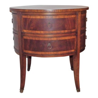 Traditional Ethan Allen Round Inlay Veneer Side Table With Drawers For Sale