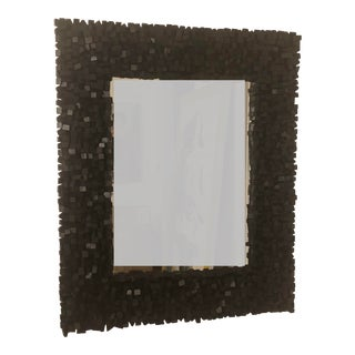 Brutalist Black Wood Mirror For Sale