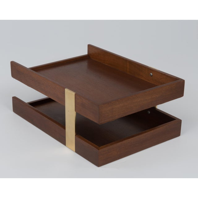 Vintage Mid Century Brass Walnut Office Two Tier Letter Tray Organizer For Sale - Image 9 of 11