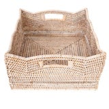 Image of Artifacts Rattan Scallop Collection Rectangular Basket For Sale