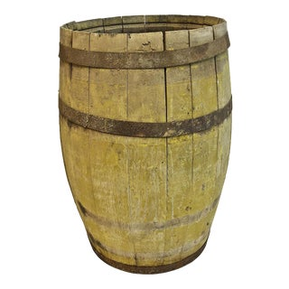 Vintage Rustic Banded Weathered Wood Nail Keg Barrel