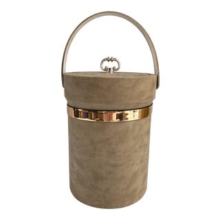 Vintage Faux Leather Handled Hollywood Regency Ice Bucket For Sale