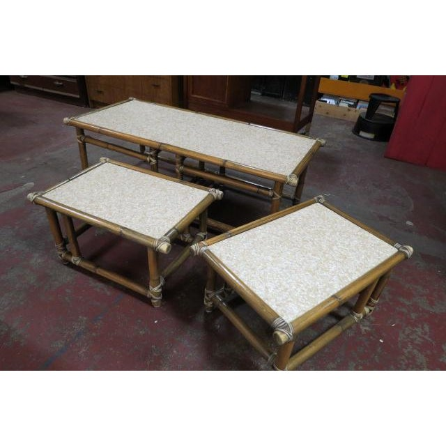 $295 for the set. 3-in-1 combo! Vintage mid century modern 3 pc. Bamboo coffee table set, c. 1960. Bamboo tables wrapped...
