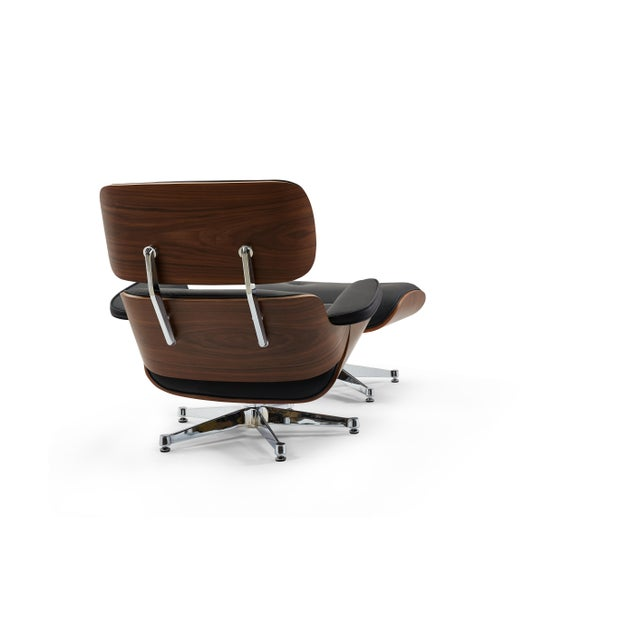 2010s Pasargad's Florence Black Leather Lounge Chair & Ottoman For Sale - Image 5 of 10