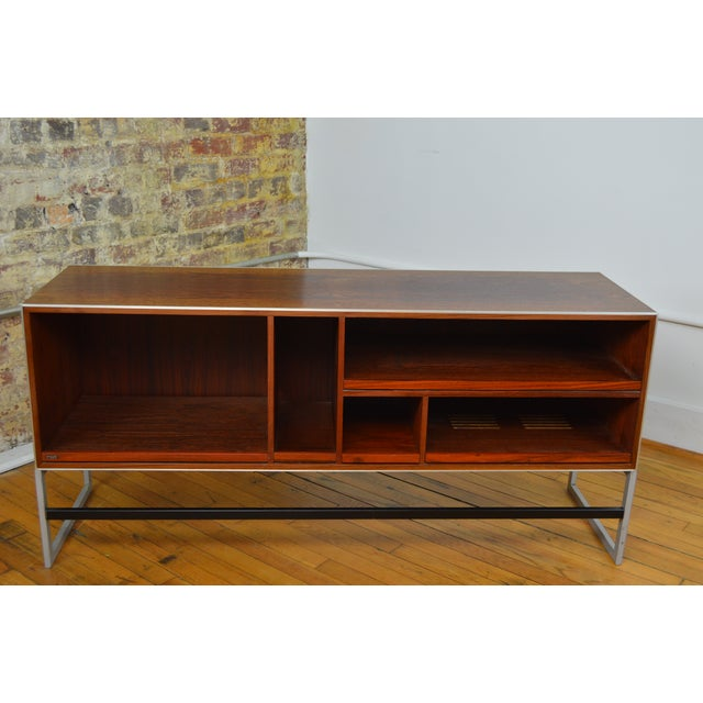 Unique and highly functional console by maker of fine electronics, Bang & Olufsen. This piece likely dates to the 1980s...