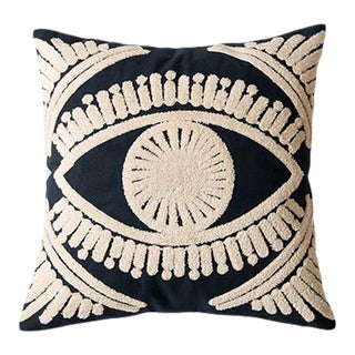 Crewel Embroidery Cushions & Throw Pillow Cover Navy Blue & Ivory For Sale