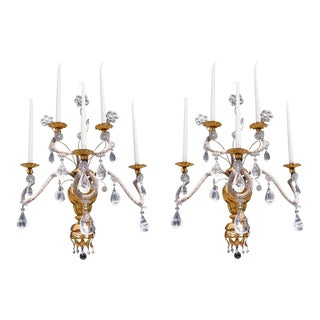Early 19th Century Italian Giltwood and Rock Crystal Wall Sconces - A Pair For Sale