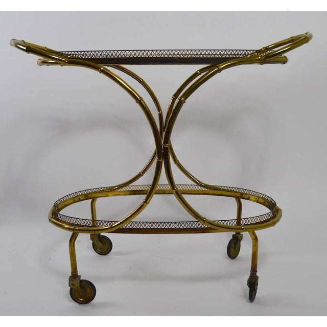 Hollywood Regency Faux Bamboo Serving Cart, Trolley in Brass and Glass For Sale - Image 3 of 11
