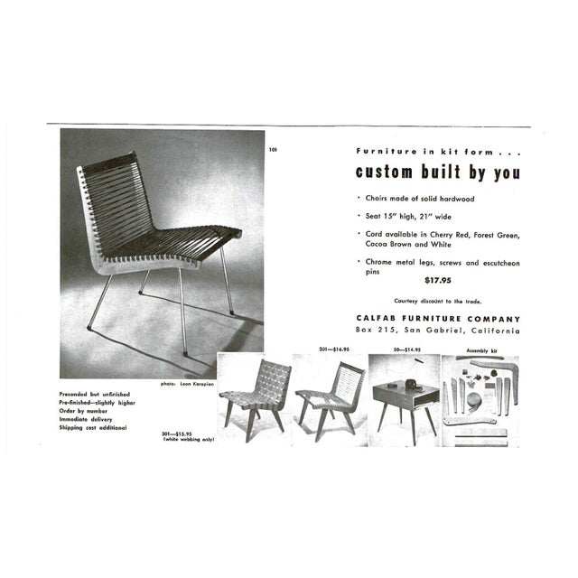 Wood String Chair by Robert J Ellenberger for Calfab Good Design, 1950s For Sale - Image 7 of 8