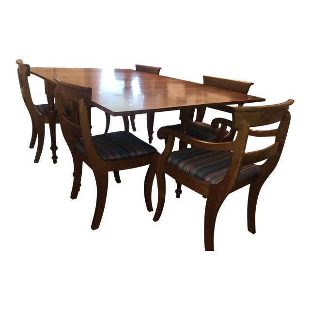Mid-Century French Country Solid Cherry Table and Chairs Set