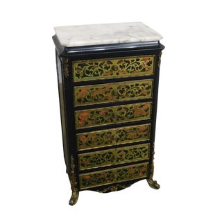 French Louis XIV Style Marble Top Brass Inlay Boulle Jewelry Chest For Sale