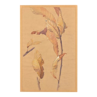 """1940s French Watercolor on Paper """"Autumn"""" For Sale"""