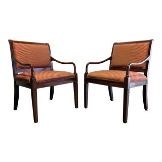 Fairfield Contemporary Transitional Style Cherry Open Arm Chairs - A Pair