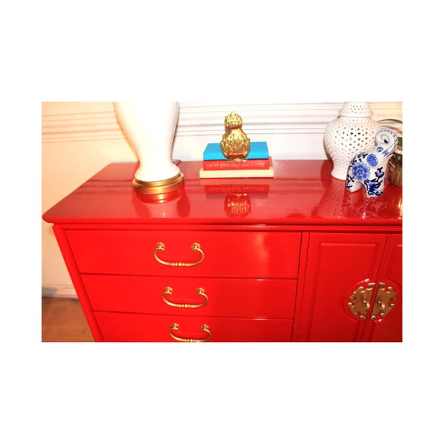 Basset Chinoiserie Red Lacquered Dresser Credenza For Sale - Image 9 of 10